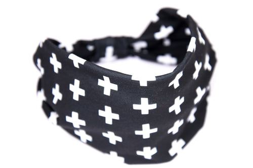 Wide Bow Headband - B&W Cross