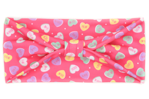 Wide Bow - Sweet Candy Hearts on Hot Pink