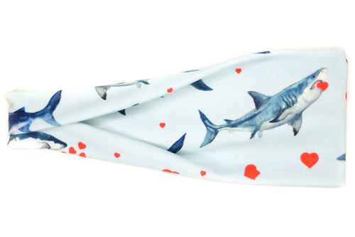 Modern Jersey Tri-Fold - Love at First Bite Sharks on Blue