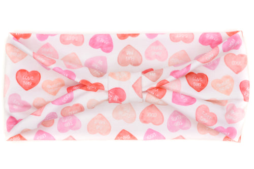 Wide Bow - Pink & Red Watercolor Candy Hearts on White