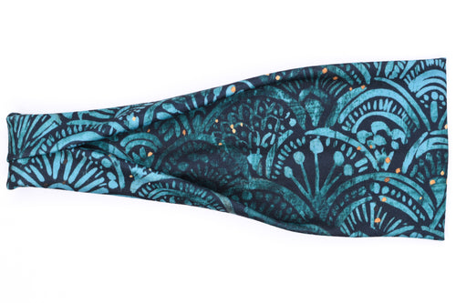 Modern Jersey Tri-Fold - Art Deco Mermaid Teal & Black