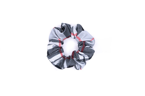 Scrunchie Hair Tie - Black White Red Plaid