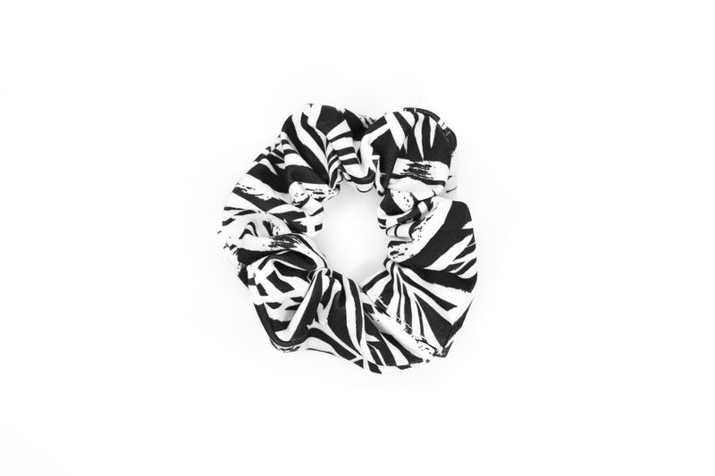 Scrunchie Hair Tie - B&W Palm