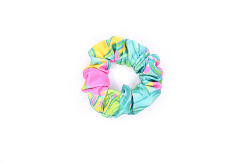 Scrunchie Hair Tie - Lilly Palm Pink & Green