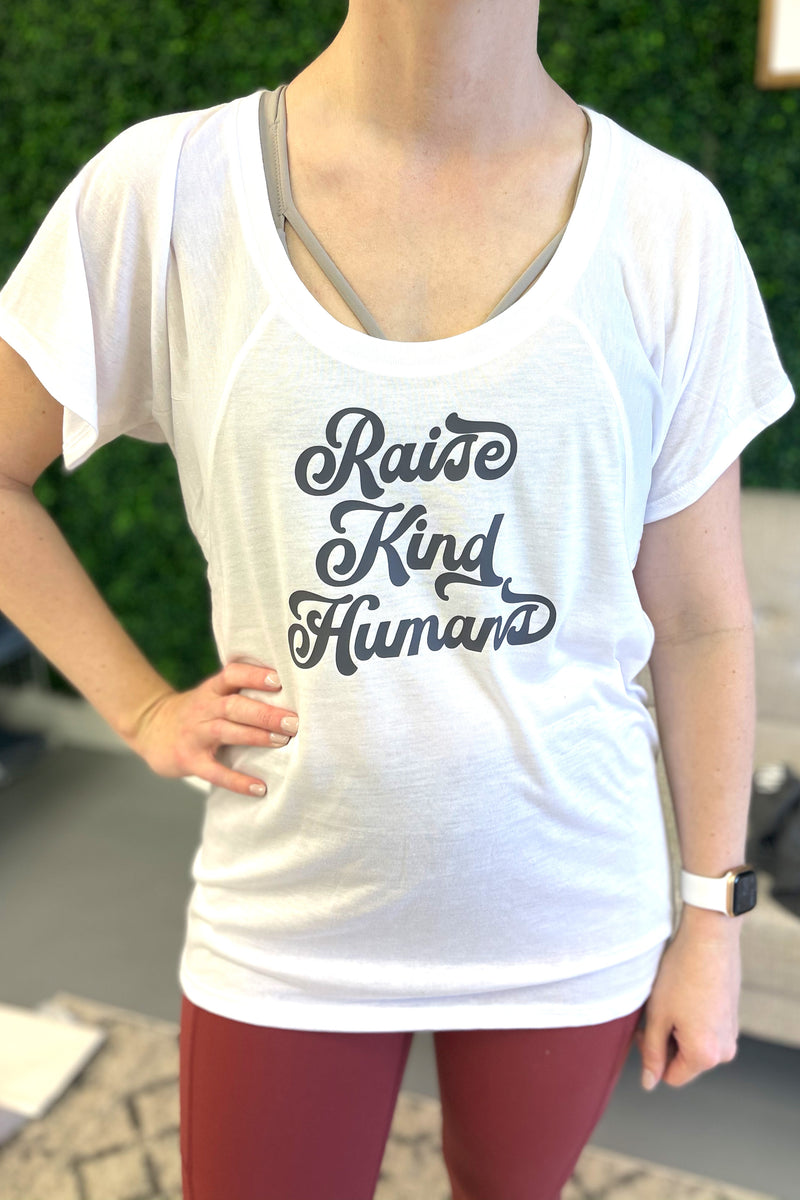 Raise Kind Humans - White - Flowy Top