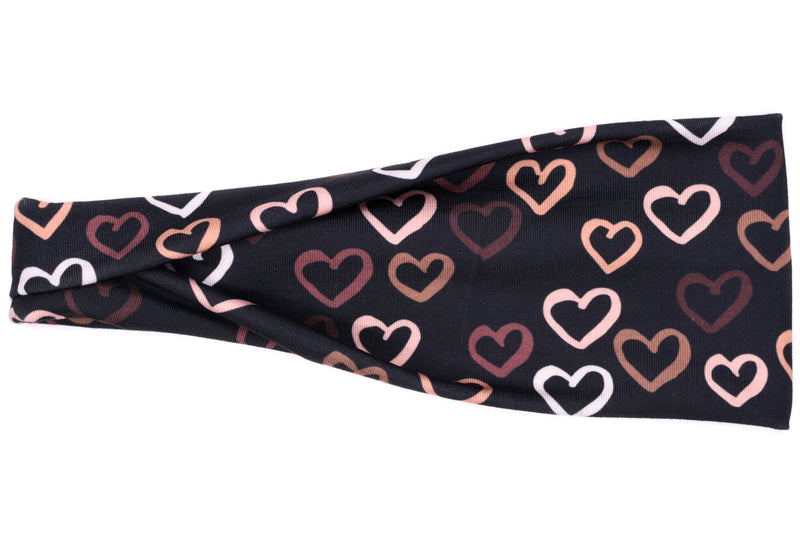 Modern Jersey Tri-Fold - Skin Tone Hearts on Black