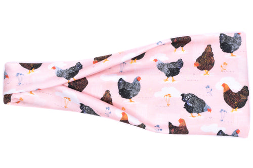 Modern Jersey Tri-Fold - Farm Chickens on Pink
