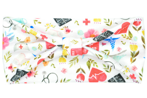 Wide Bow - Nurse/First Aid Floral on White