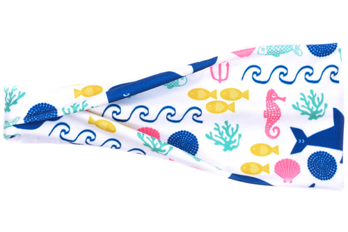 Modern Jersey Tri-Fold - Under The Sea Creatures on White