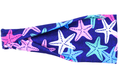 Modern Jersey Tri-Fold - Starfish on Blue