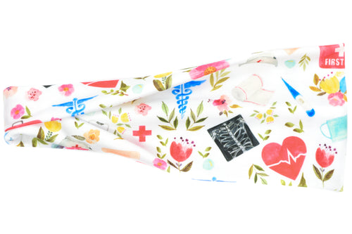 Modern Jersey Tri-Fold - Nurse/First Aid Floral on White