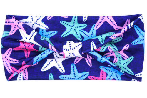 Wide Bow - Starfish on Blue