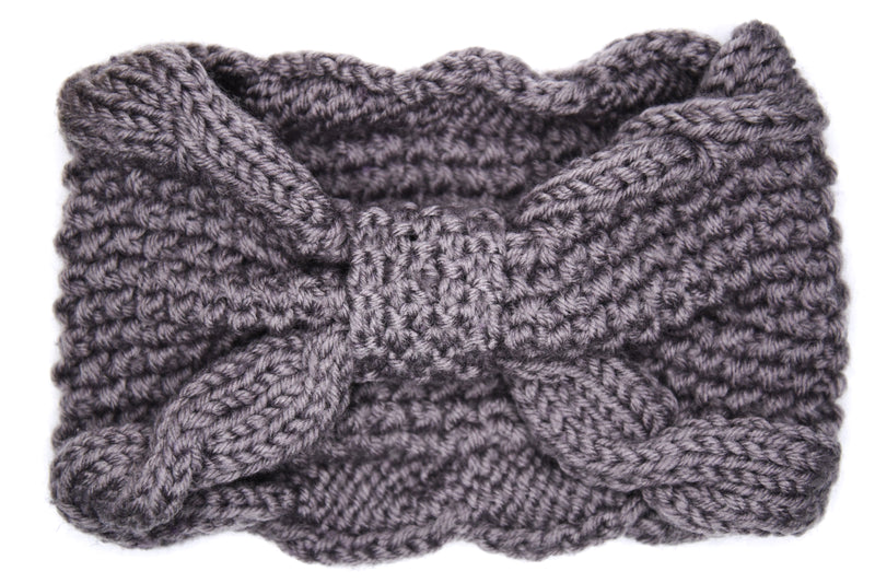 Lana Chunky Bow Knitted Headband - Charcoal