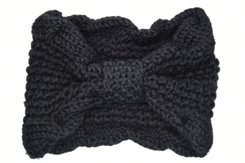 Lana Chunky Bow Knitted Headband - Black