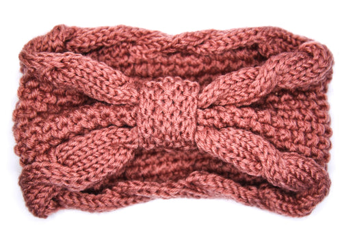 Lana Chunky Bow Knitted Headband - Rose