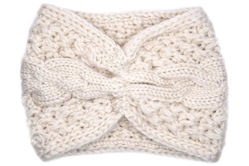 Tatum Bunched Knitted Headband - Ivory
