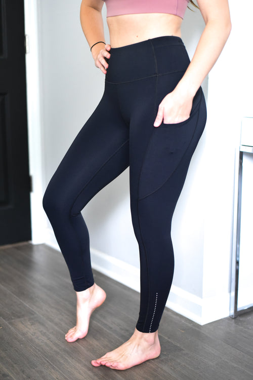 Empowerment High Rise Pocket Leggings- 7/8 Ankle - Black