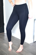 Power & Grit High Rise Leggings - 7/8 Ankle - Black