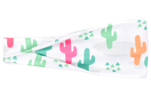 Modern Jersey Tri-Fold - Bright Cactus and Triangles on White
