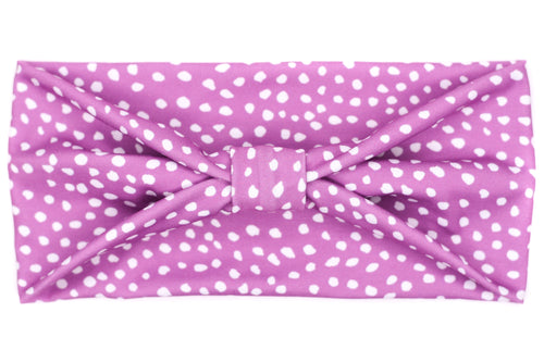 Wide Bow - Dots on Purple