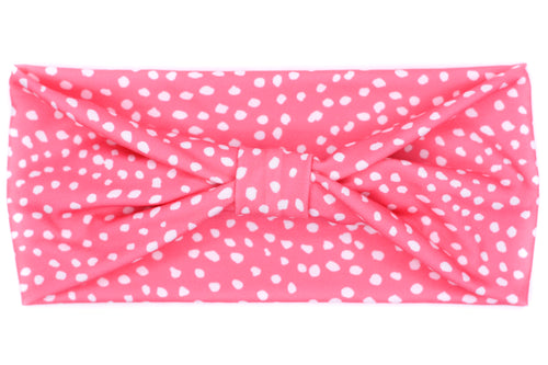 Wide Bow - Dots on Pink