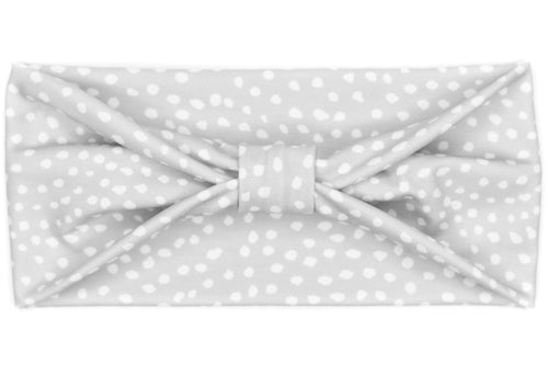 Wide Bow - Dots on Grey