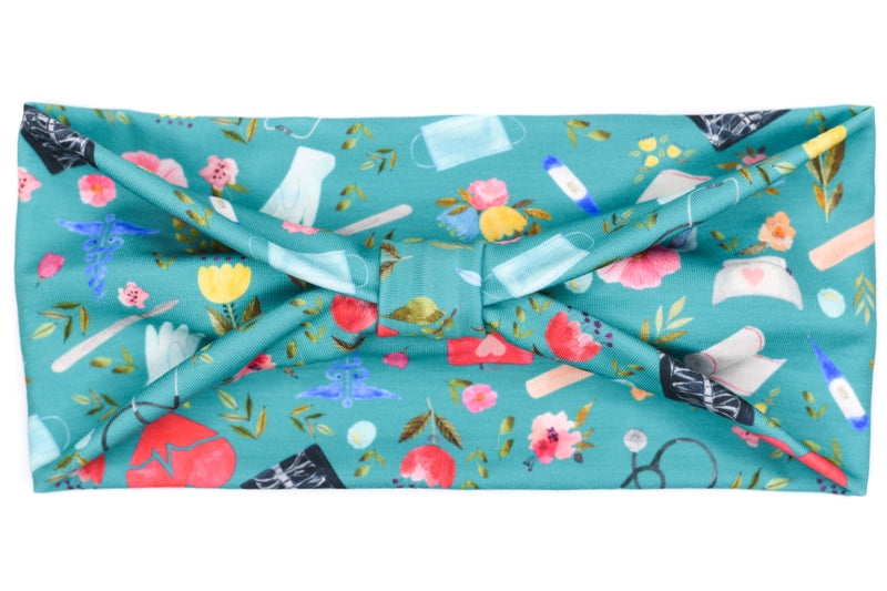 Wide Bow - Nurse/First Aid Floral on Turquoise