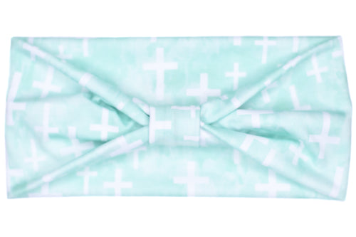 Wide Bow Headband - Cross on Watercolor Mint