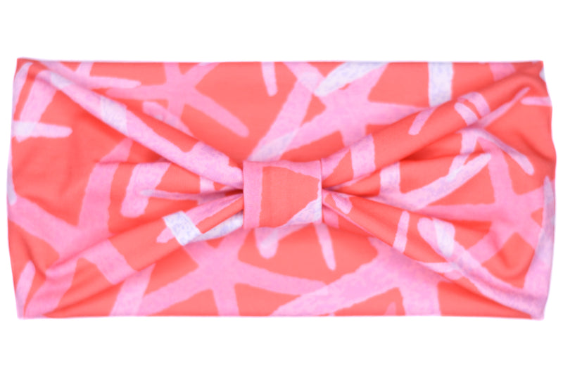 Wide Bow Headband - Starfish on Coral