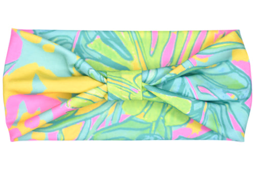 Wide Bow Headband - Lilly Neon Palms