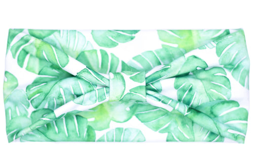 Wide Bow Headband - Monstera Plant on White