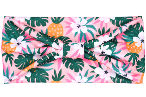 Wide Bow Headband - Tropical Pineapple on Pink