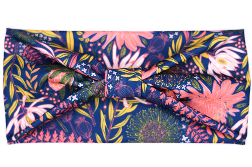 Wide Bow Headband - Coral Mustard Fern on Navy