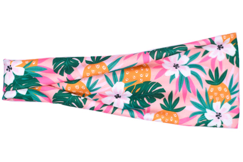 Modern Jersey Tri-Fold - Tropical Pineapple on Pink