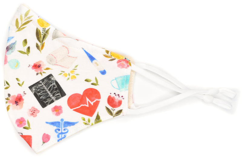 Mask - Nurse/First Aid Floral on White
