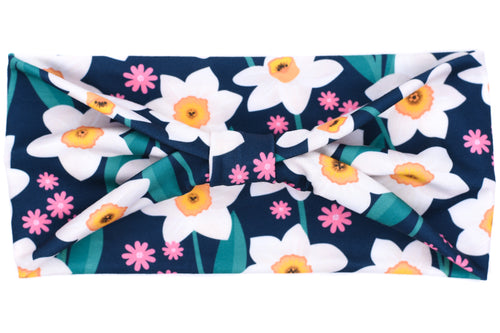 Wide Bow - Daffodils on Navy