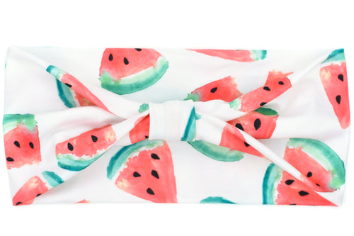 Wide Bow - Watermelons on White