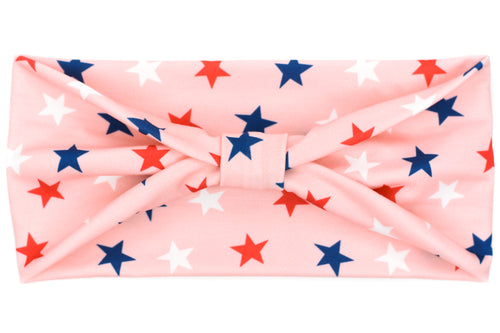 Wide Bow - Red White & Blue Stars on Pink