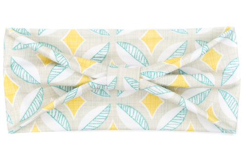 Wide Bow - Mid Mod Geometric Aqua & Yellow
