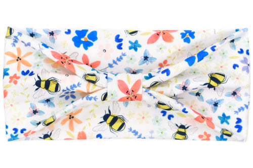 Wide Bow - Bumble Bees & Flowers on White