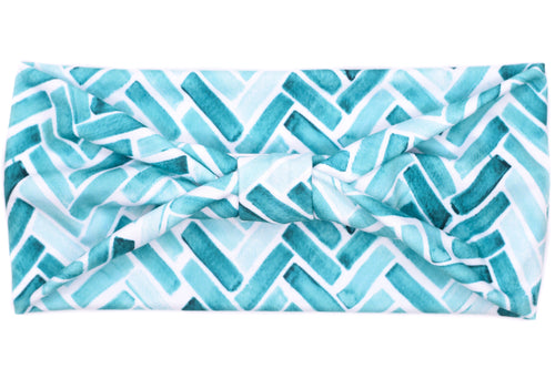 Wide Bow - Watercolor Herringbone Teal