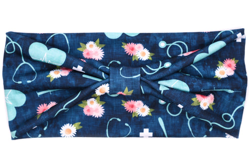 Wide Bow - Floral Nurse Melody Teal