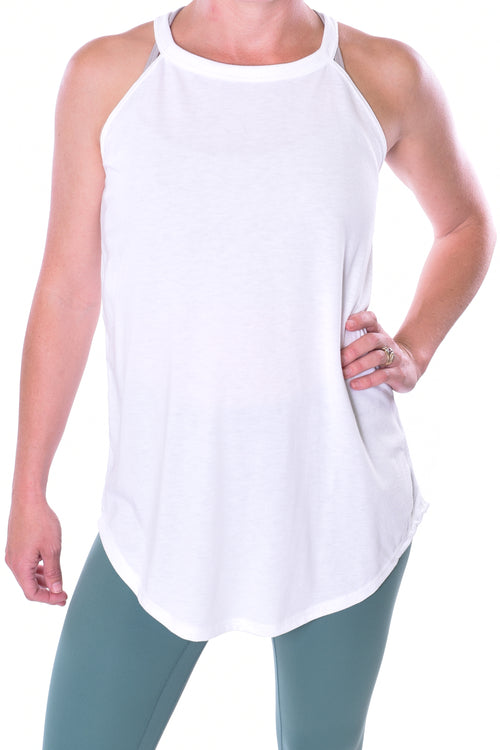 High Neck Flowy Tank - White