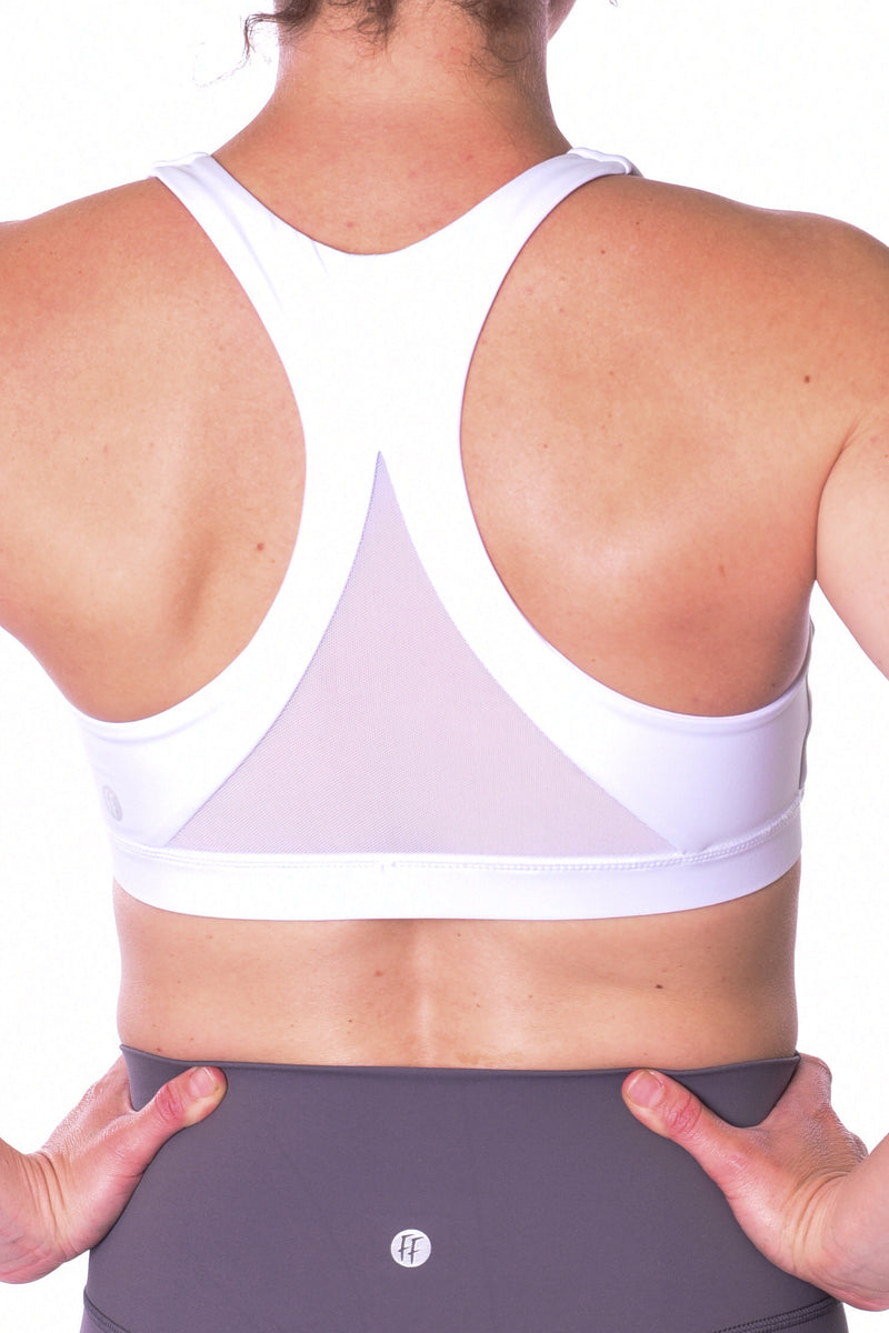 Apollo Mesh Back Sports Bra - White