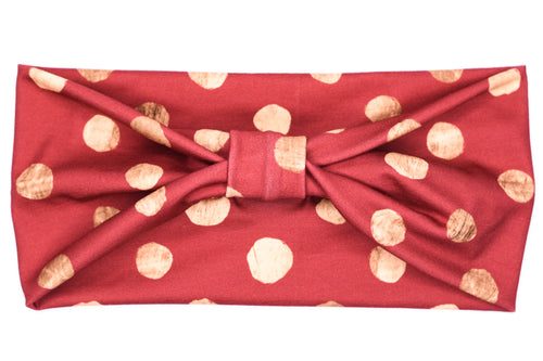 Wide Bow - Red Gold Dots