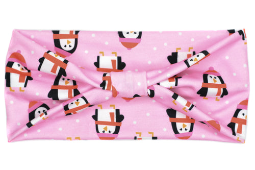 Wide Bow - Winter Pink Penguins