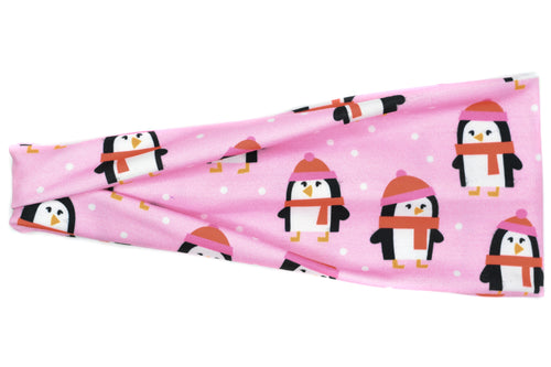Modern Jersey Tri-Fold - Winter Pink Penguins