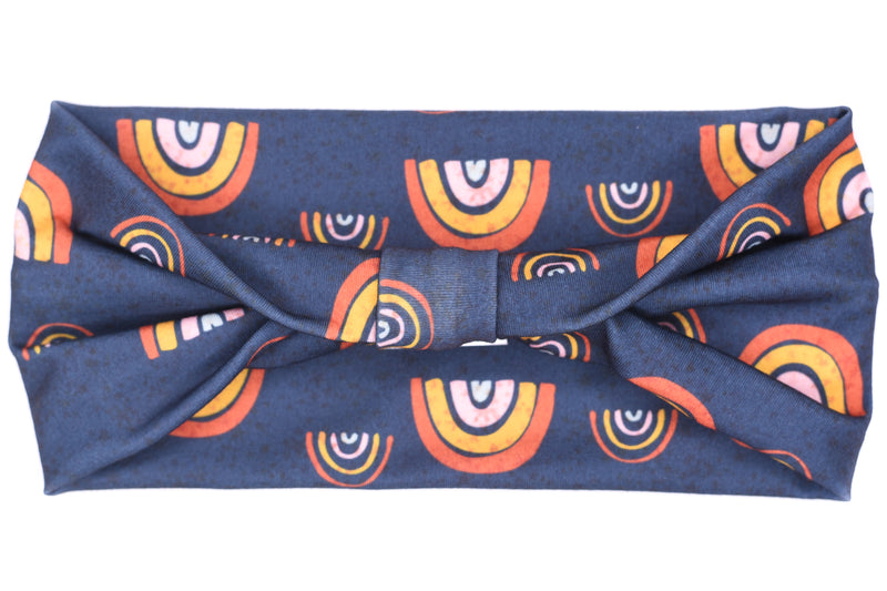 Wide Bow - Modern Rainbows on Navy