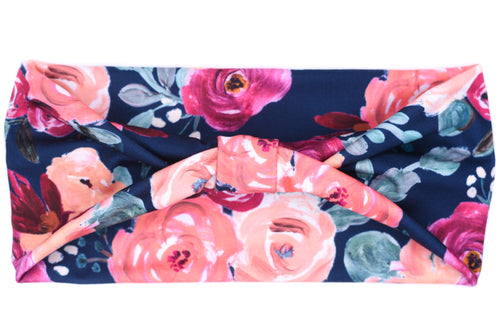 Wide Bow - Fall Pink Floral on Navy