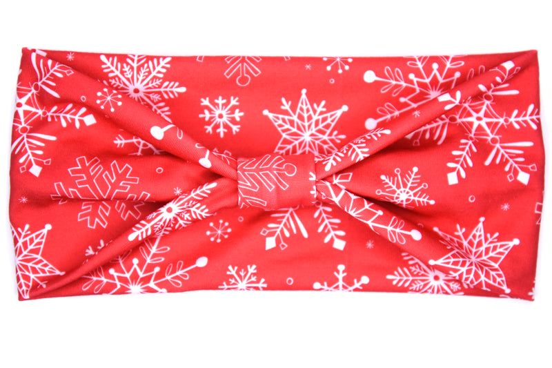 Wide Bow - Snowflake Red